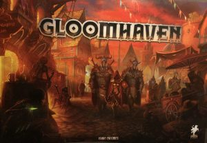 The box cover of the Gloomhaven Boardgame