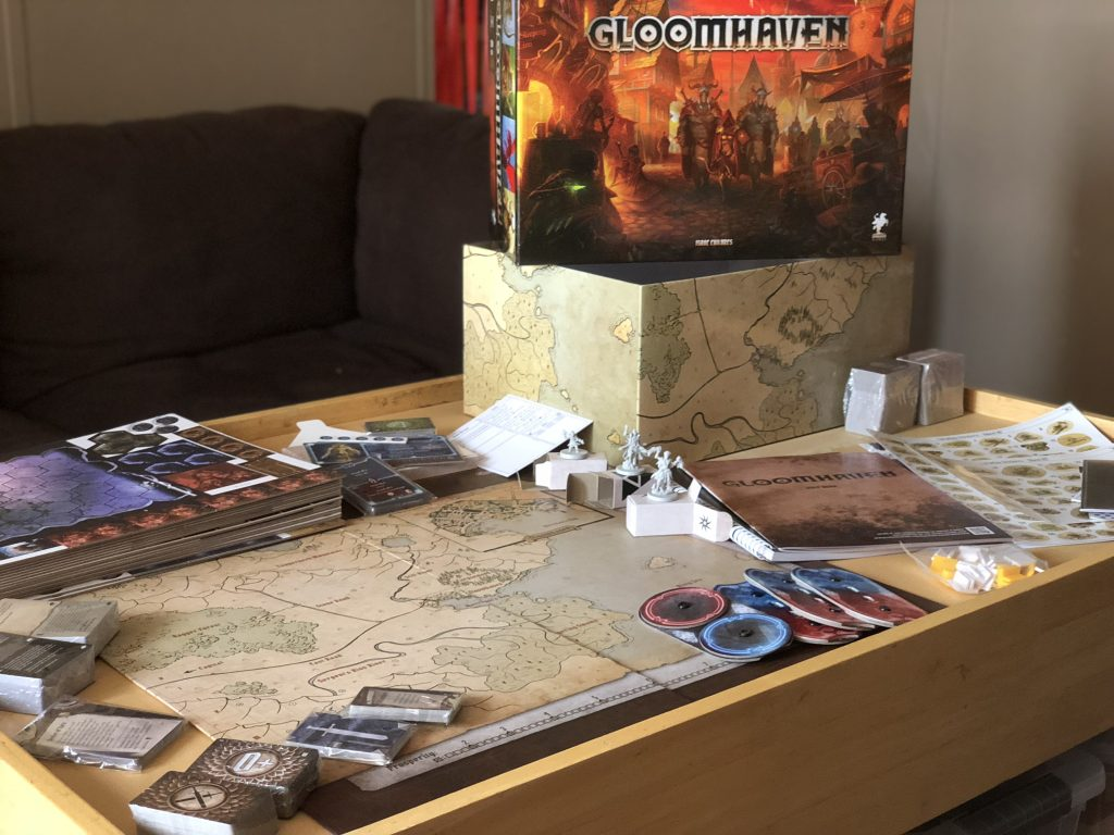 Gloomhaven boardgame components