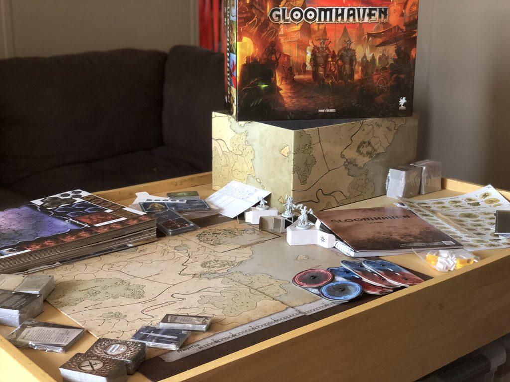 Gloomhaven boardgame components