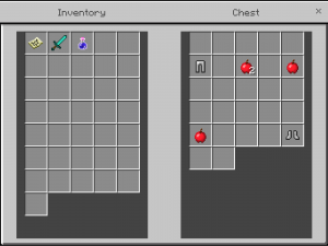 Chest with iron pants, 4 apples, and iron boots.