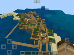 Fishing village with lots of crops ready to harvest.
