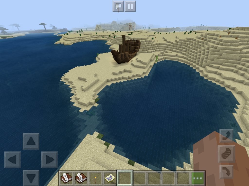 A boat shipwrecked on land in Minecraft