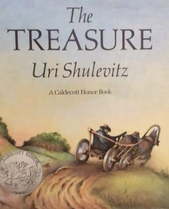 Front cover of the book The Treasure with a man getting a ride on a horse-drawn cart.