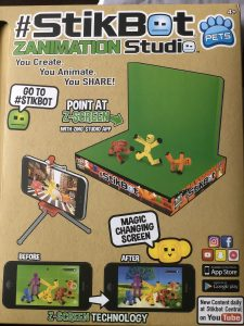 Stickbot Studio Pro box showing figures, green screen, and tripod