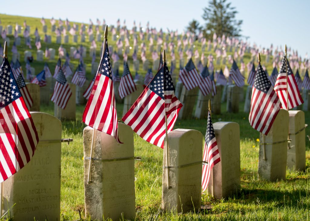 American Flags on Headstones
