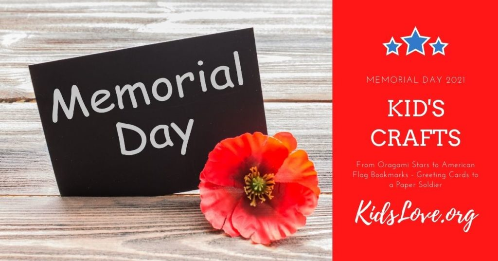 Memorial Day Card Next to a Flower